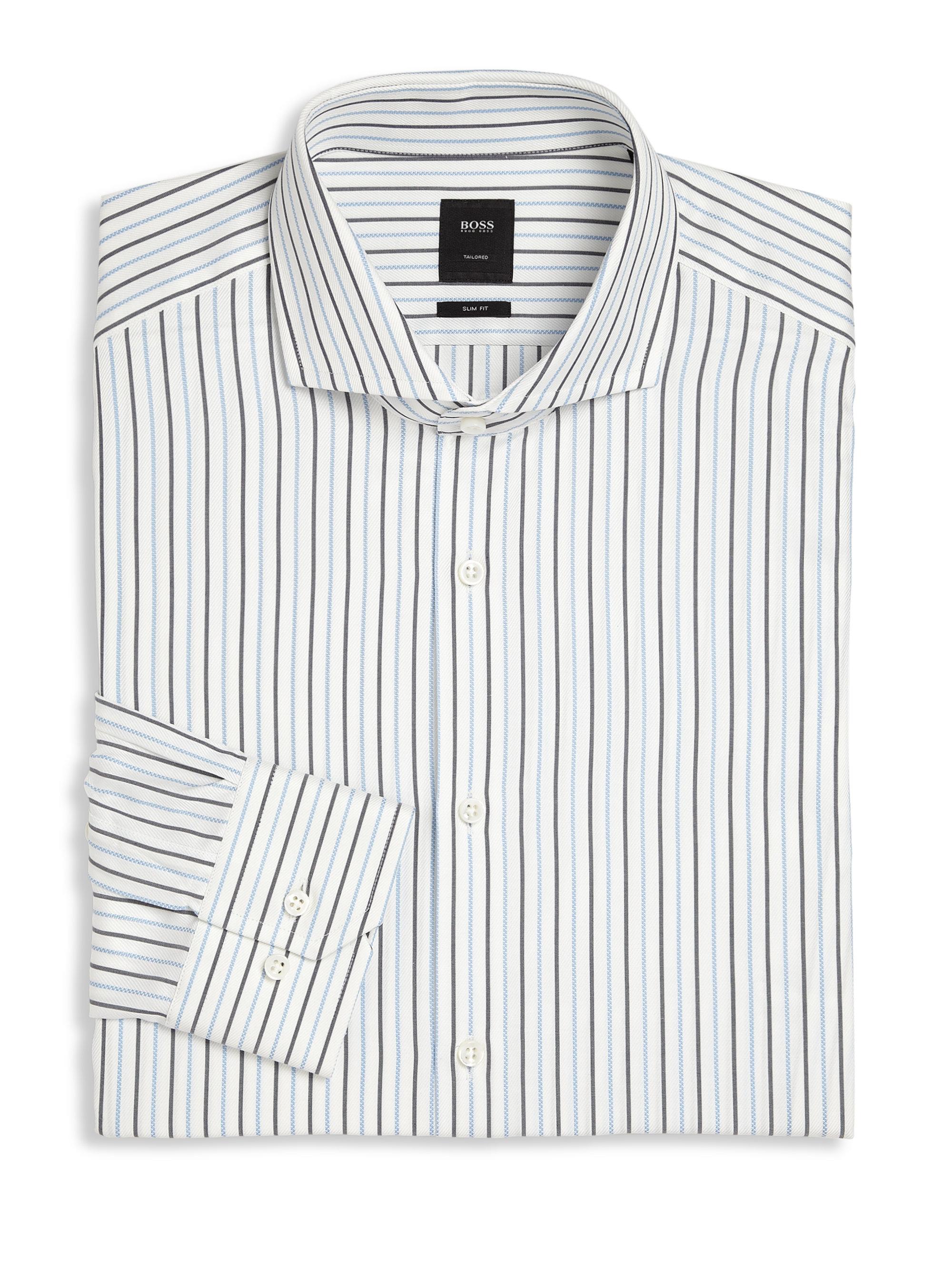 Lyst boss slim fit striped dress shirt in white for men for White military dress shirt