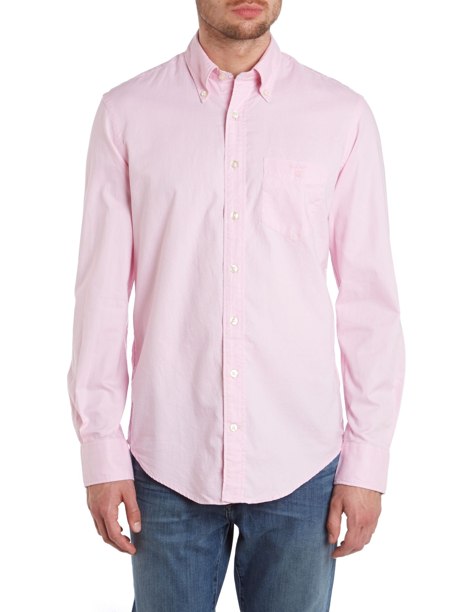 Gant long sleeve colour oxford shirt in pink for men lyst for Pink oxford shirt men