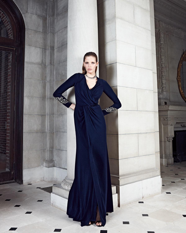 Lyst - David Meister Beaded-cuff Surplice Jersey Gown in Black