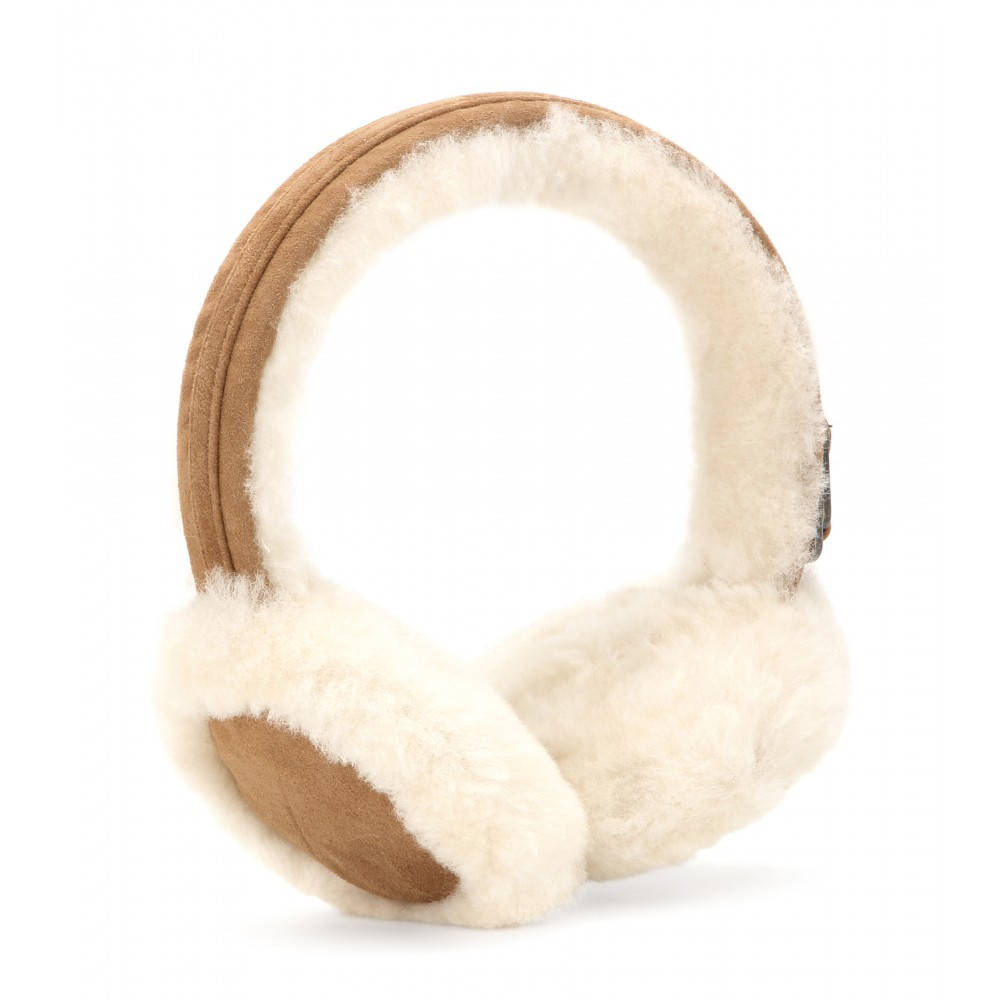 adc1b3f3fd6 Lyst - UGG Double U Shearling Earmuffs in Natural