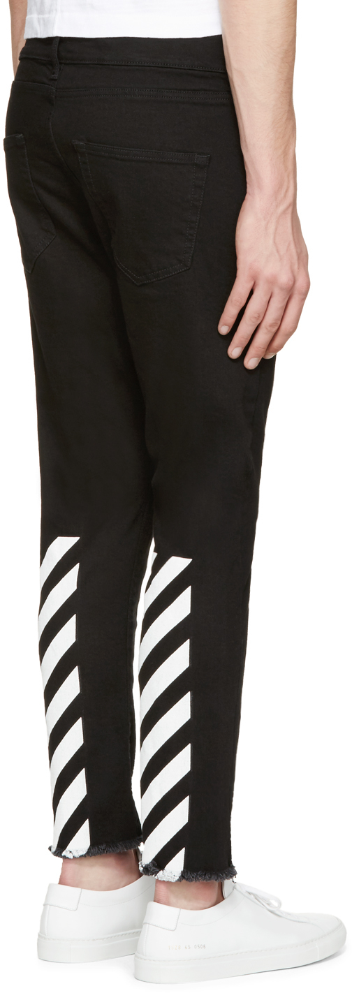 Off-white c/o virgil abloh Black Frayed & Cropped Jeans in Black ...