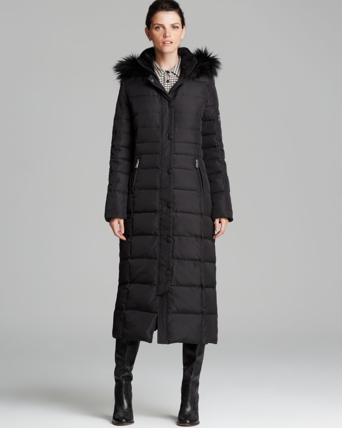 Dkny Down Coat - Faux Fur Trim Maxi in Black | Lyst