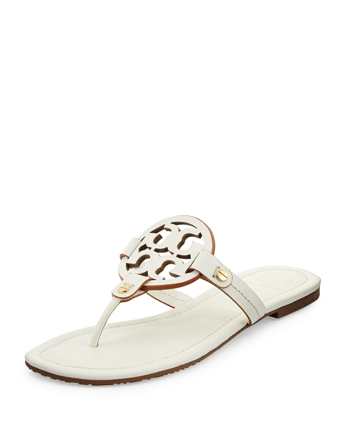 c233239601065d Lyst - Tory Burch Miller Leather Logo Thong Sandal in White