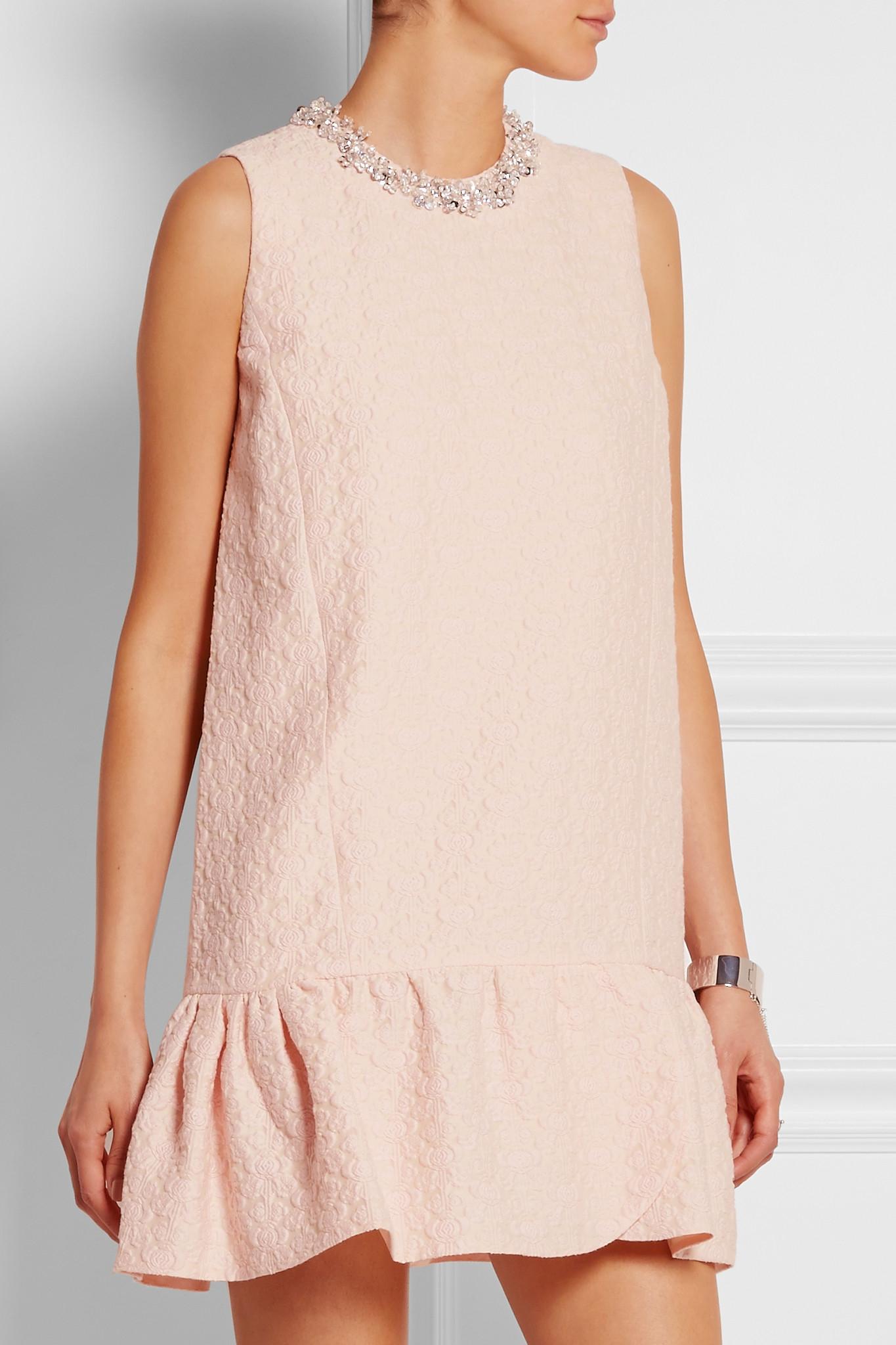 Miu Miu Embellished Cotton Blend Jacquard Mini Dress In