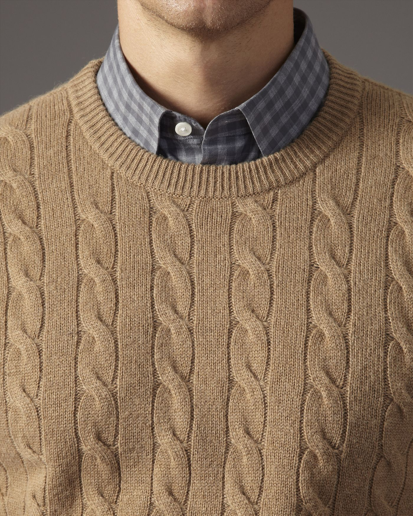 Lyst Jaeger Camel Hair Cable Knit Sweater In Natural For Men