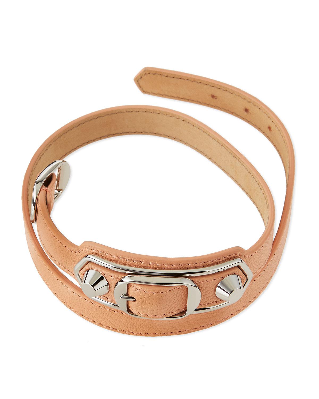 Balenciaga Pink Leather Wrap Bracelet