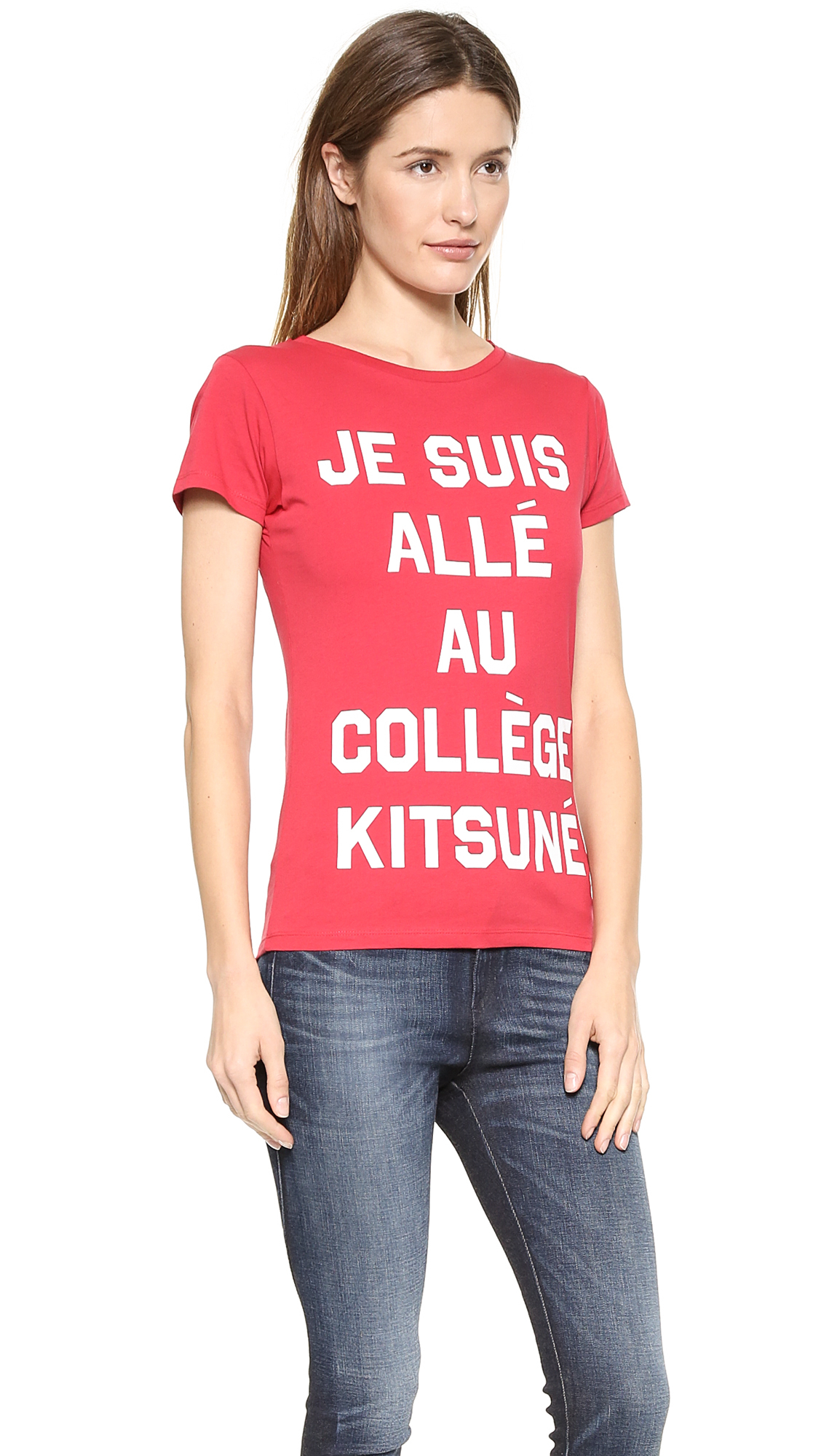lyst maison kitsun 39 je suis alle 39 tee shirt red white in red. Black Bedroom Furniture Sets. Home Design Ideas
