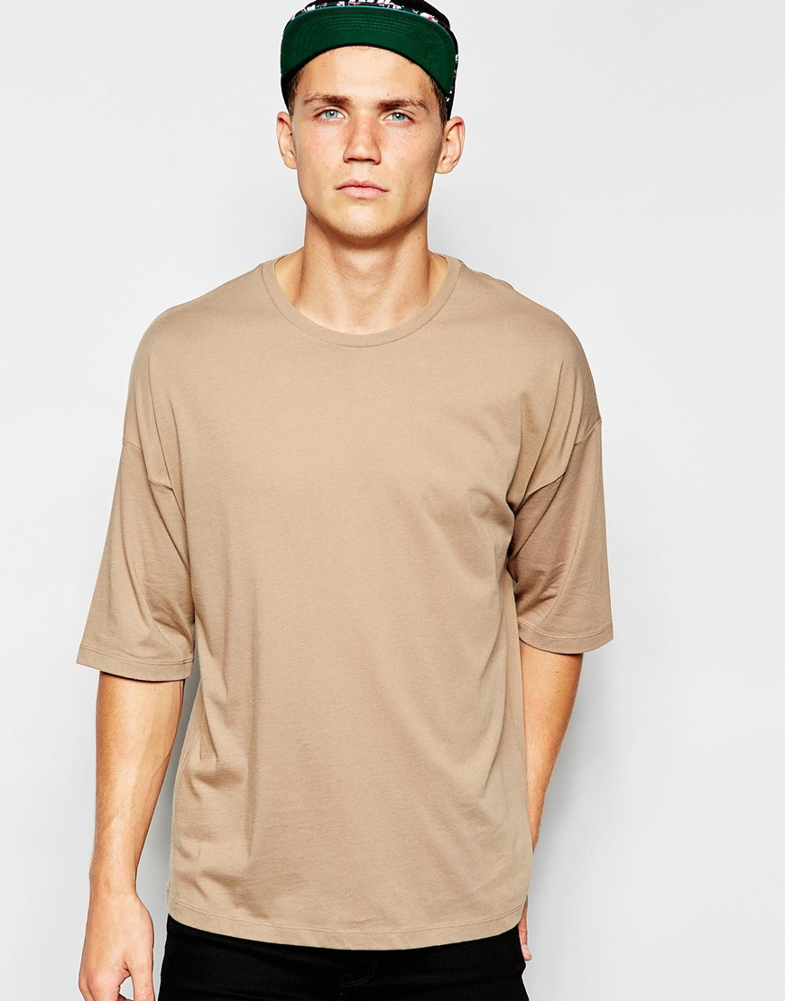 lyst asos t shirt in oversized fit in brown for men. Black Bedroom Furniture Sets. Home Design Ideas