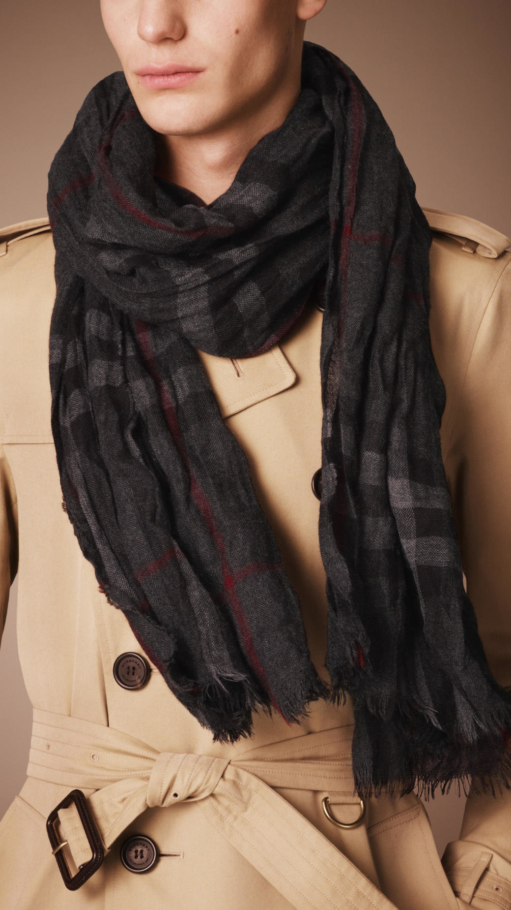 1149f06bd7ca good burberry heritage check crinkled cashmere scarf in gray lyst 034fe  7cf6f