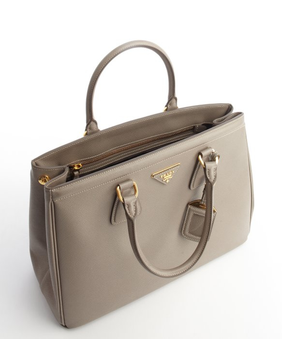 Prada Grey Textured Leather Top Handle Bag in Gray (grey) | Lyst