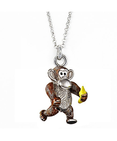 Jan leslie Monkey And Banana Pendant / Charm Necklace in Metallic | Lyst