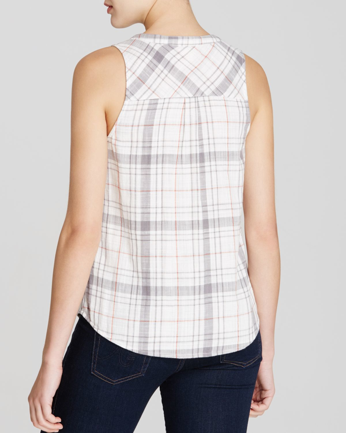 Lyst soft joie bardon b plaid top in white for Soft joie plaid shirt