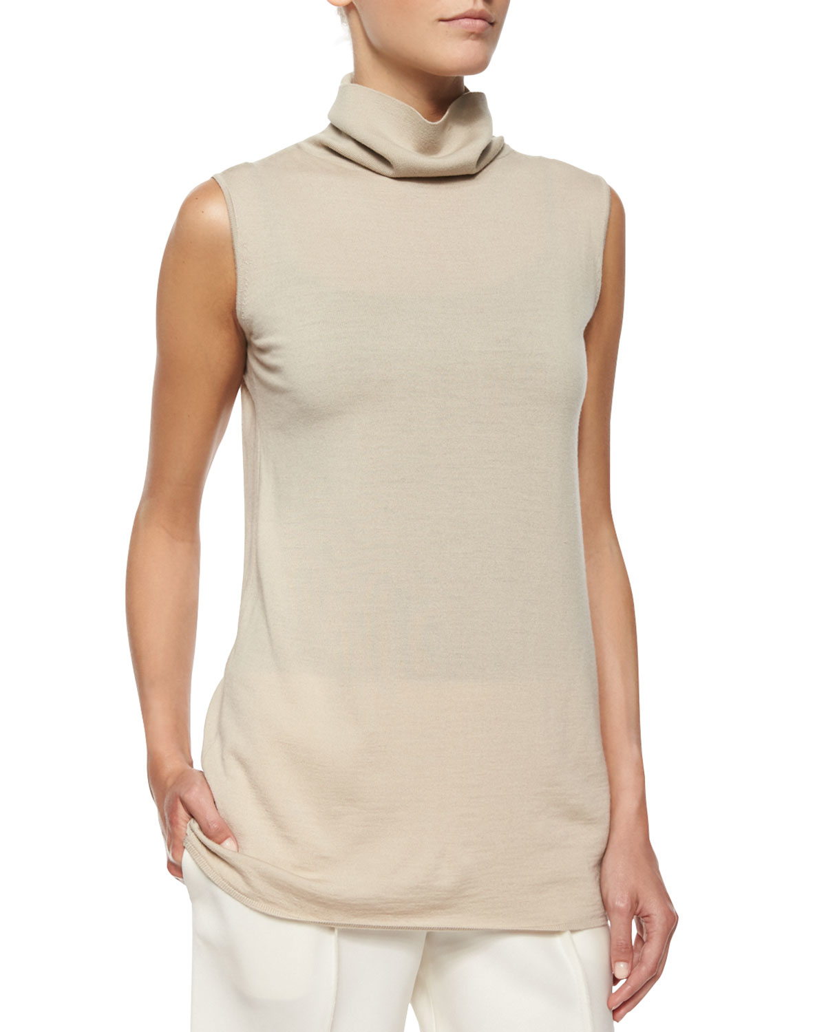 Lyst The Row Rion Sleeveless Cashmere Blend Turtleneck