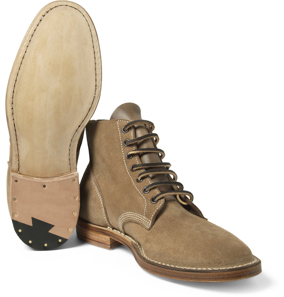 Viberg Boondocker Suede Lace-Up Boots in Brown for Men | Lyst