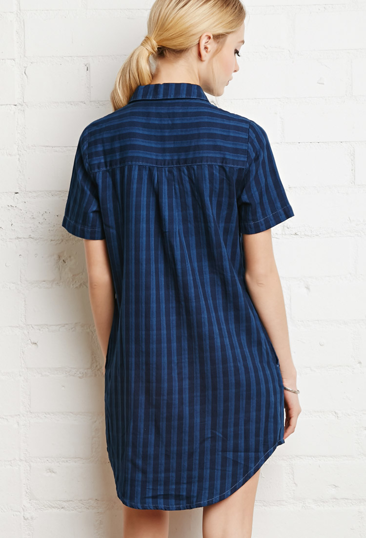 Forever 21 faded plaid shirt dress in blue lyst for Blue and yellow plaid dress shirt