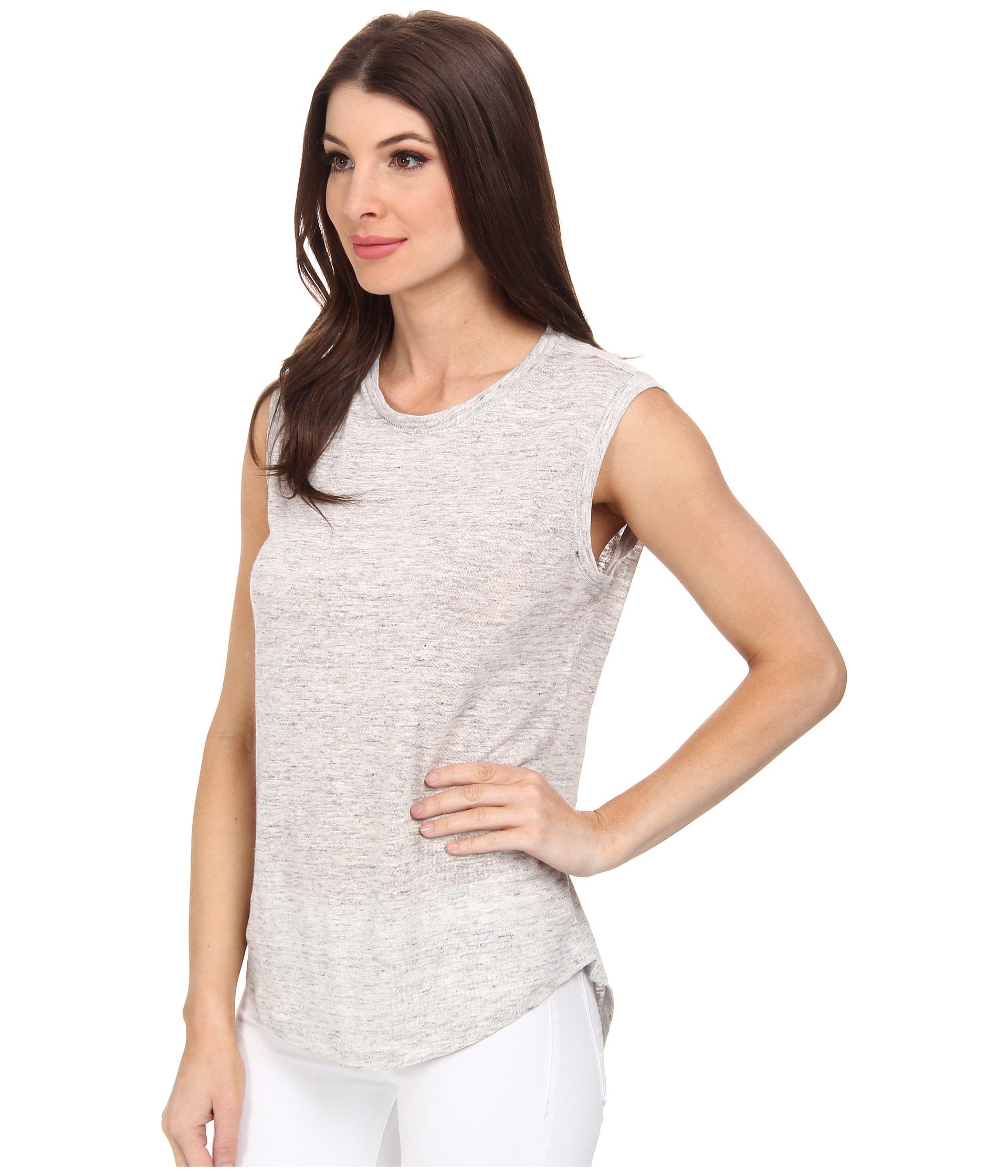 d5f243841fe Lyst - Michael Stars Linen Knit High-Low Muscle Tank Top in Gray