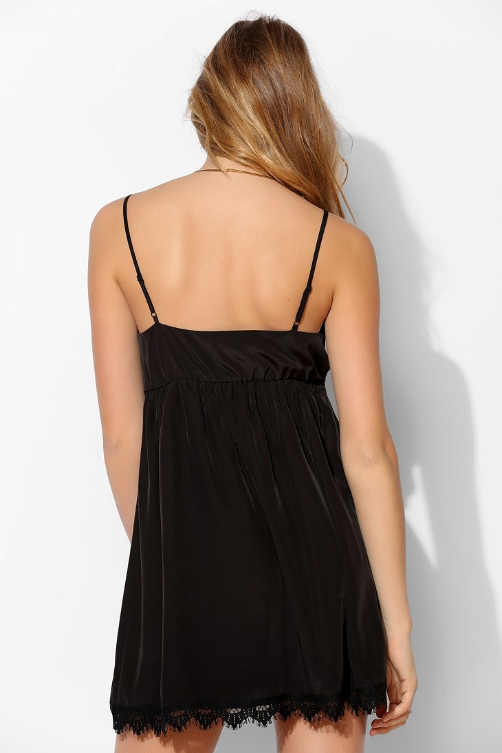 Lyst - Urban Outfitters Cope Lacetrim Surplice Slip Dress in Black bcff6fe03