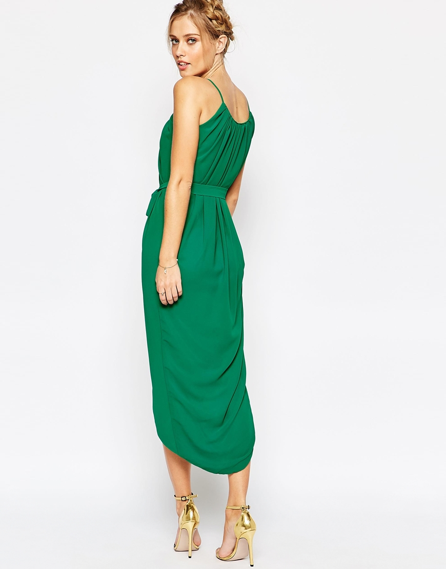 Tfnc london Pleated Wrap Front Midi Dress With Belt in Green | Lyst