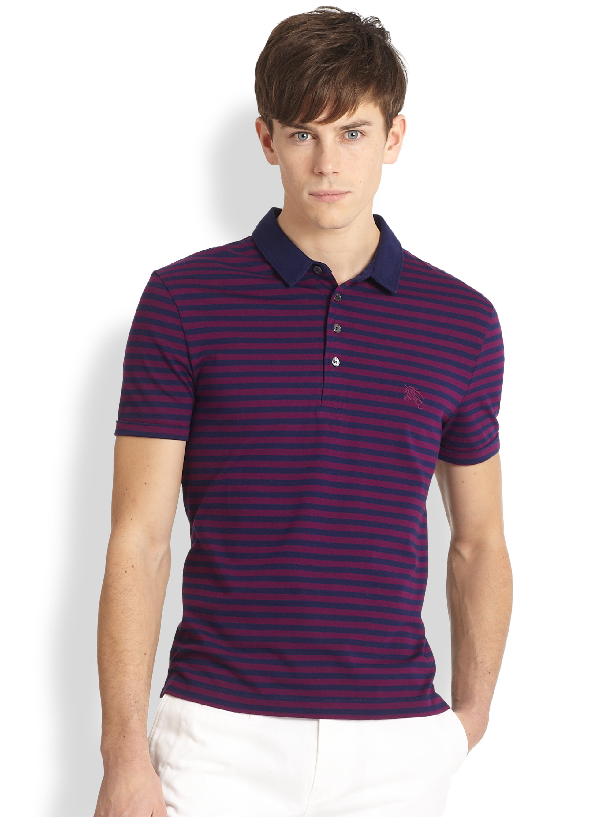 Burberry Brit Berner Striped Polo Shirt In Purple For Men