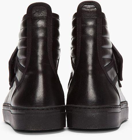 Raf Simons Black Leather Velcro High Tops In Black For Men