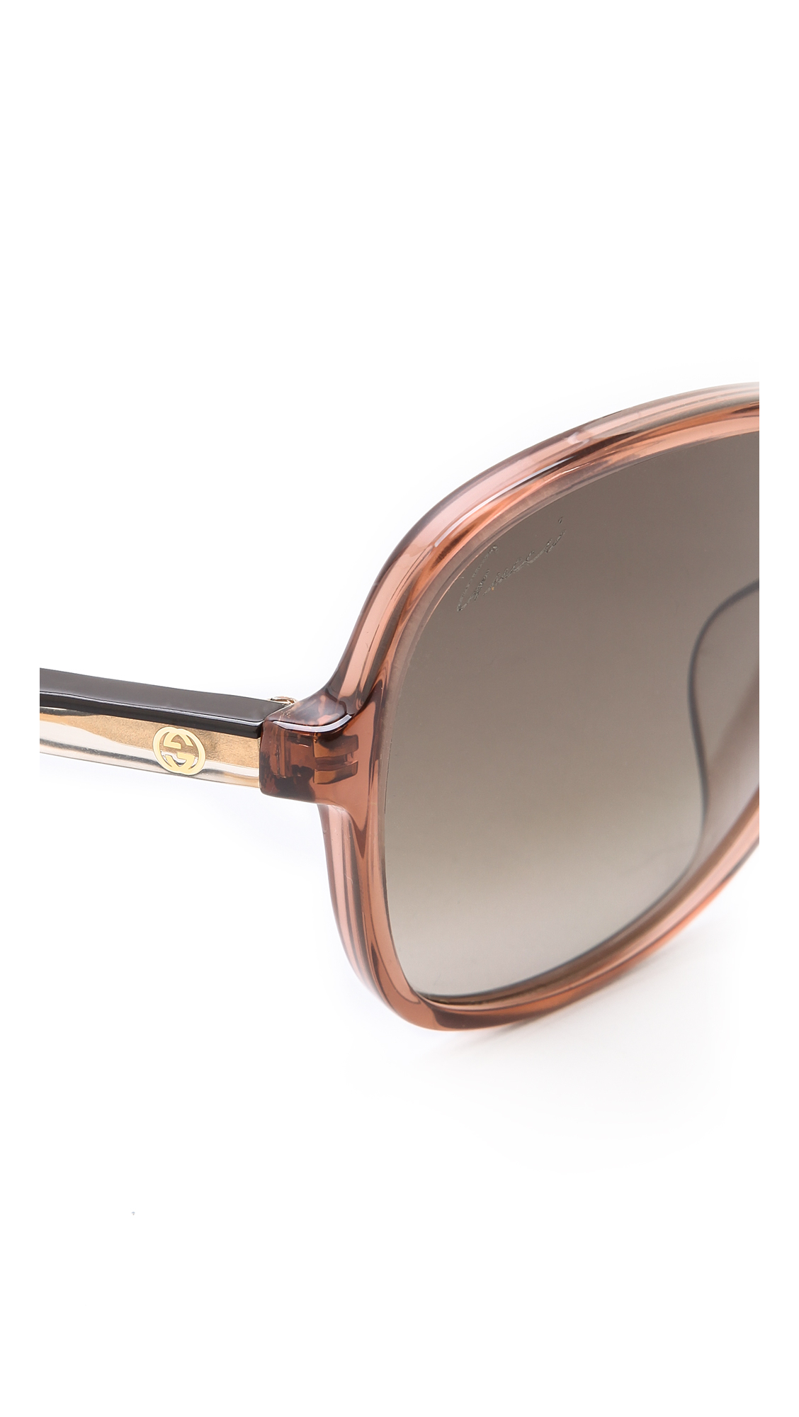 9abc9fca6b7e Gucci Special Fit Glam Sunglasses - Black/Grey Gradient in Brown - Lyst