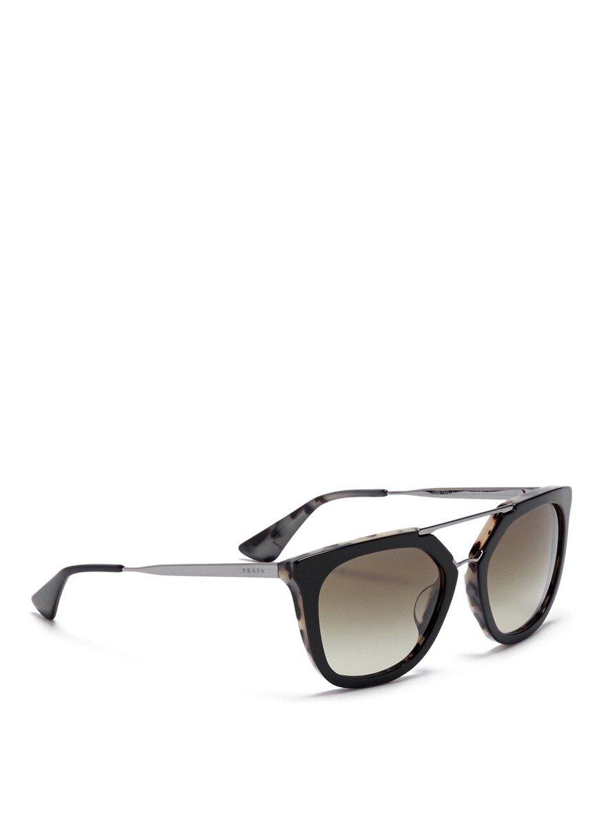 a80fb08d642 Double Sunglasses Lyst Prada In Black Bridge  luxottica  Angular qw4EAEXH