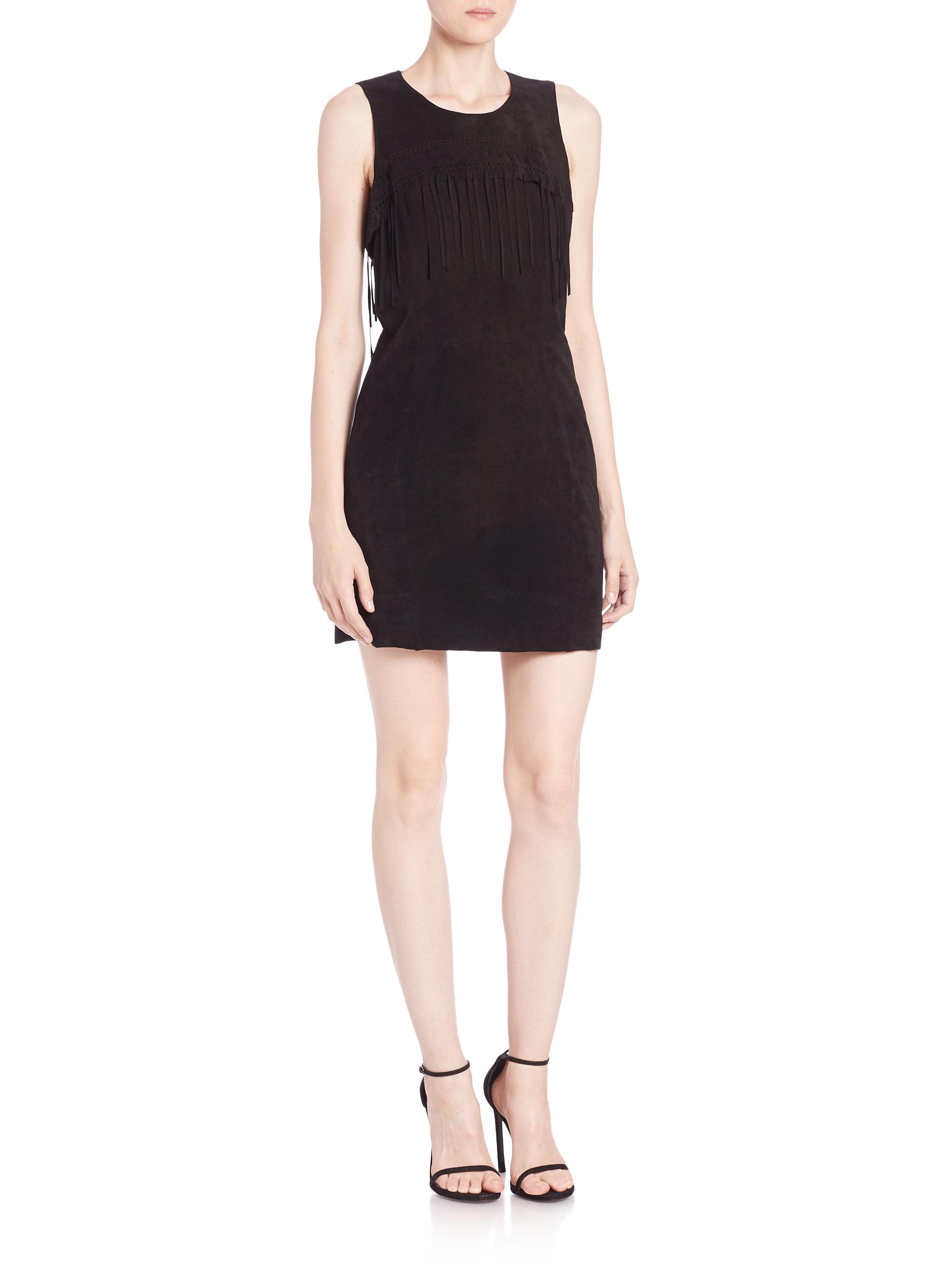 Lyst Rebecca Minkoff Suede Fringe Detail Dress In Black