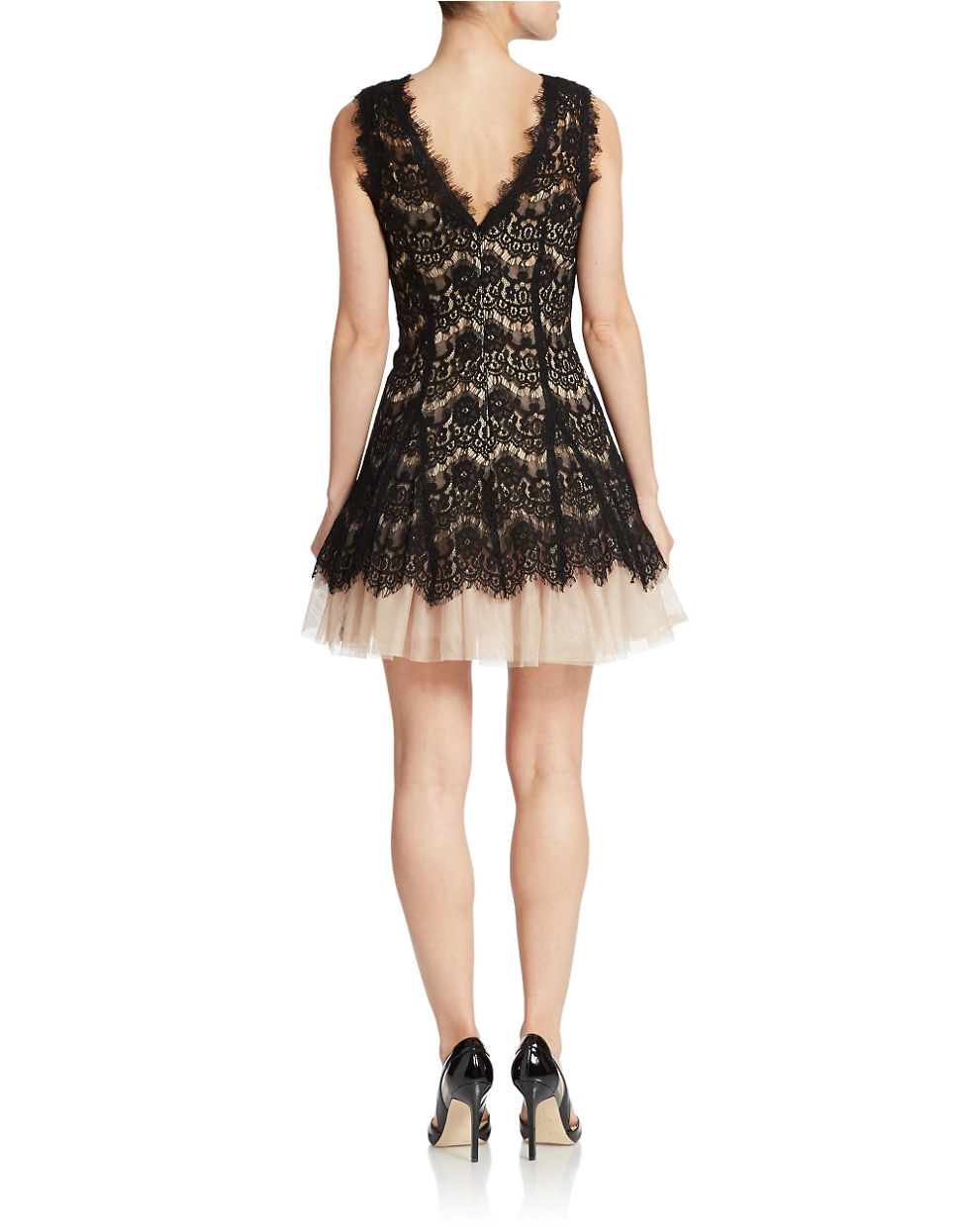 Black Lace Dress With Nude Shoes