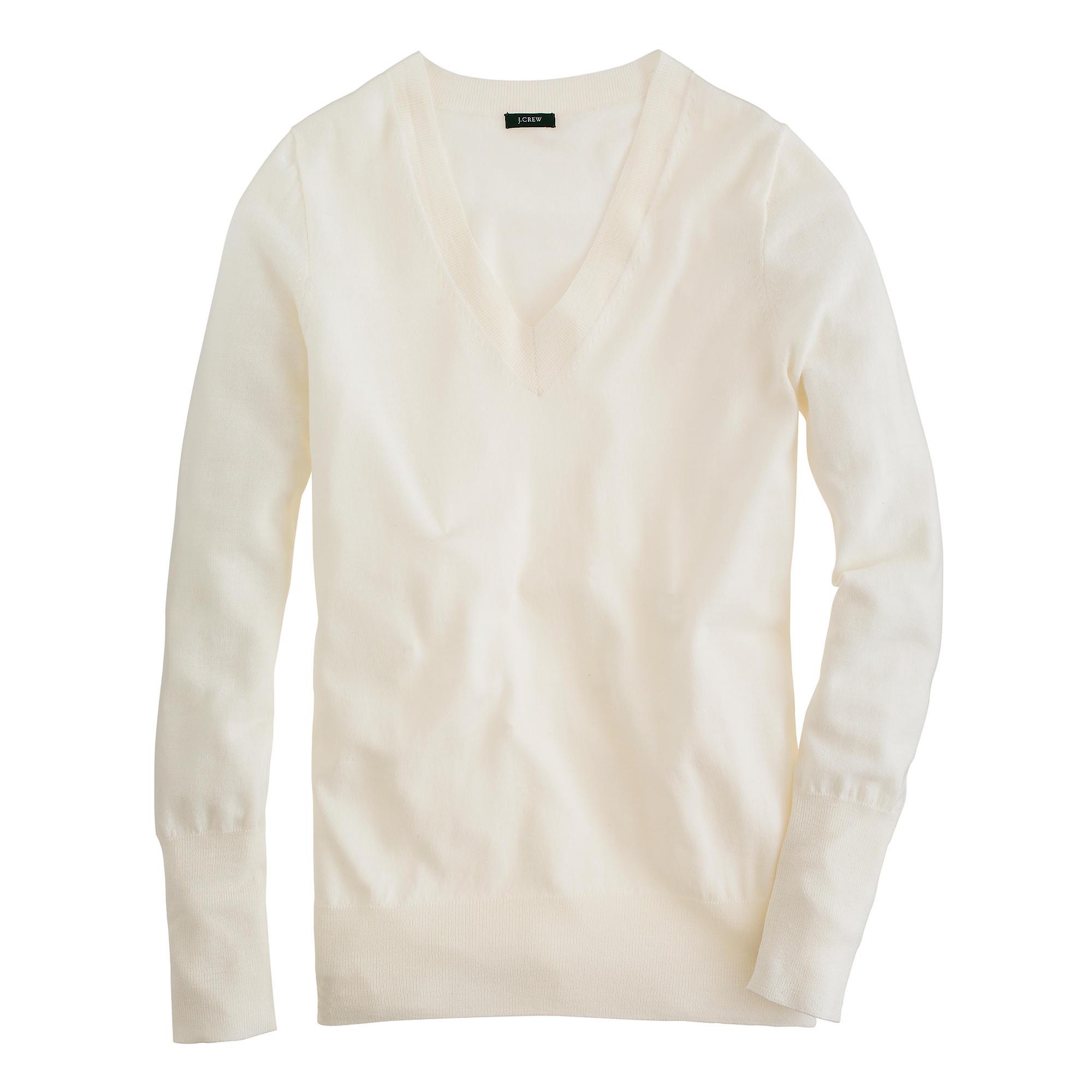 bbf9b9bad3 Lyst - J.Crew Merino Wool V-neck Sweater in White