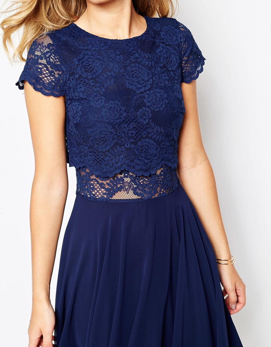 bfdc8d08fd1b ASOS Crop Top Lace Midi Dress in Blue - Lyst