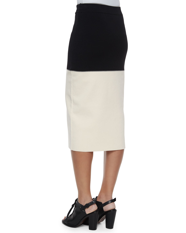 rag bone colorblock midi pencil skirt in white lyst
