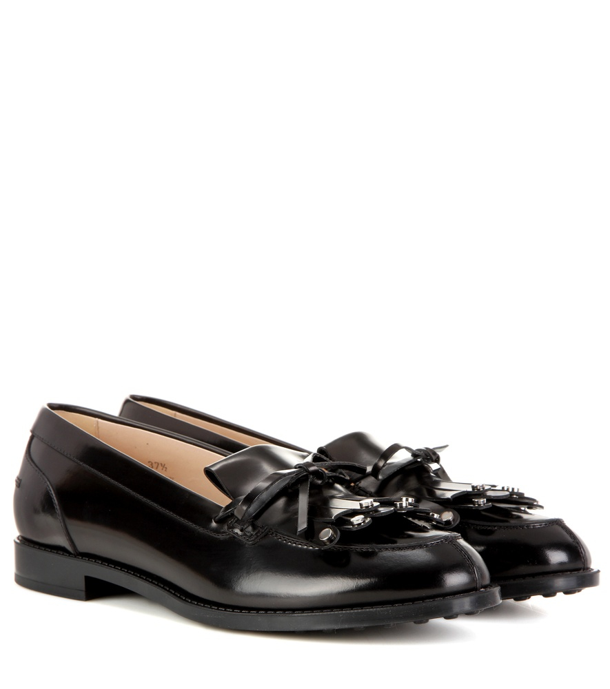 tod s leather loafers in black lyst