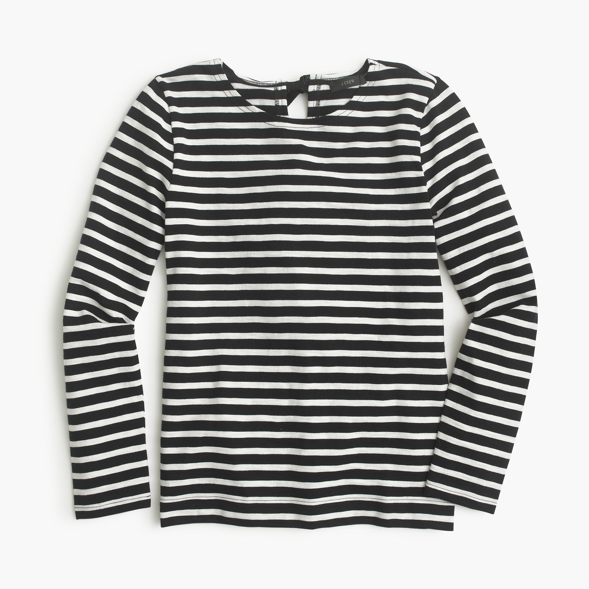 Striped T Shirt With Bow Embellished Back In Black