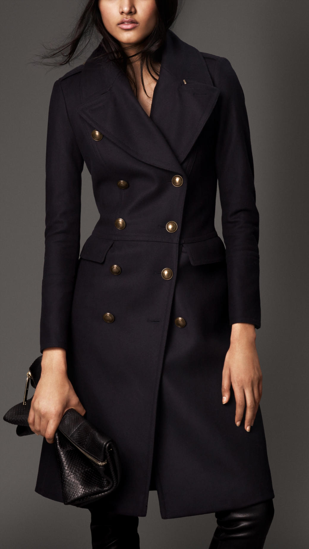 Burberry Wool Blend Fitted Military Coat in Blue | Lyst