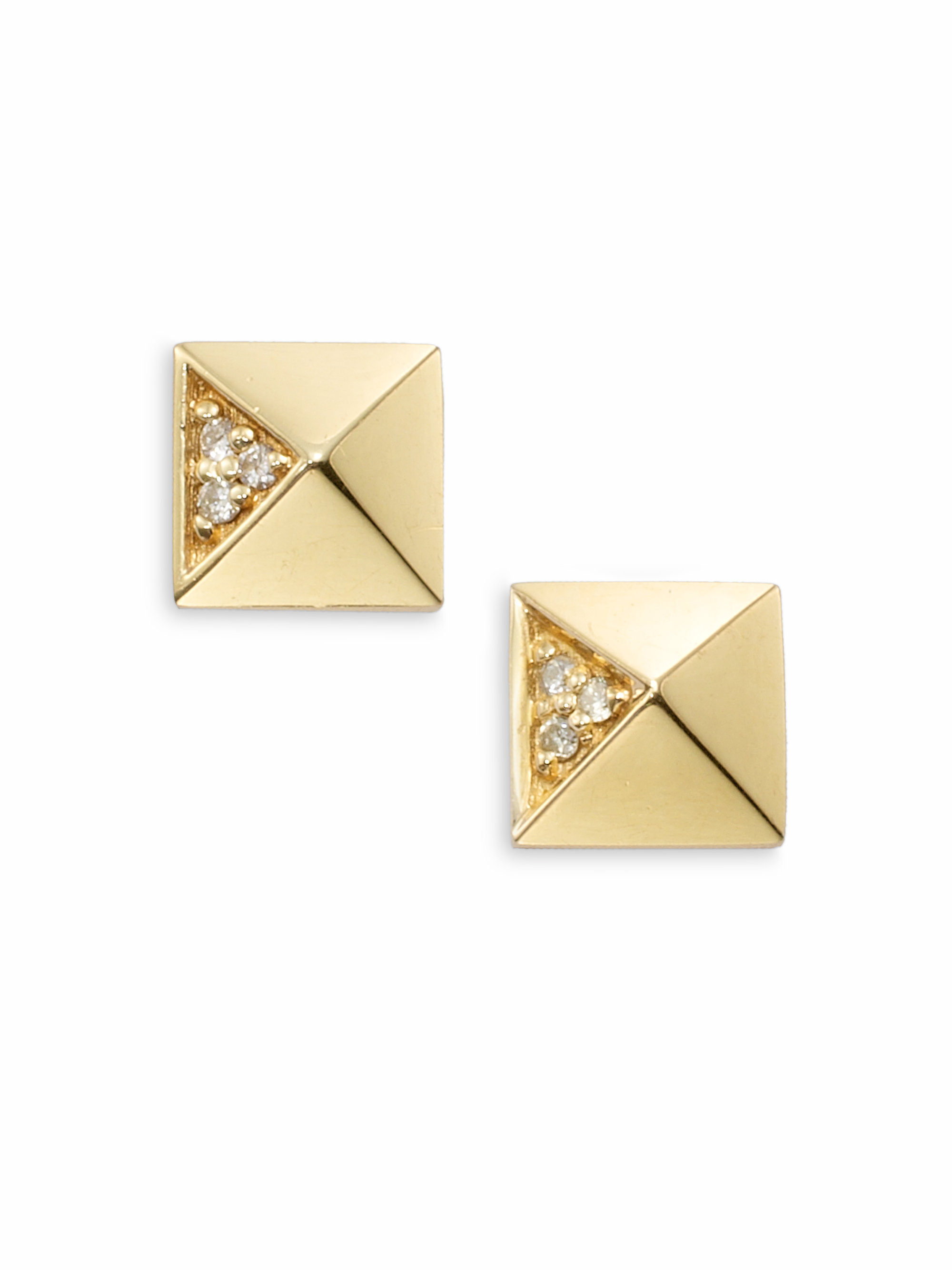 Sydney Evan Gold & Diamond Pyramid Single Stud Earring
