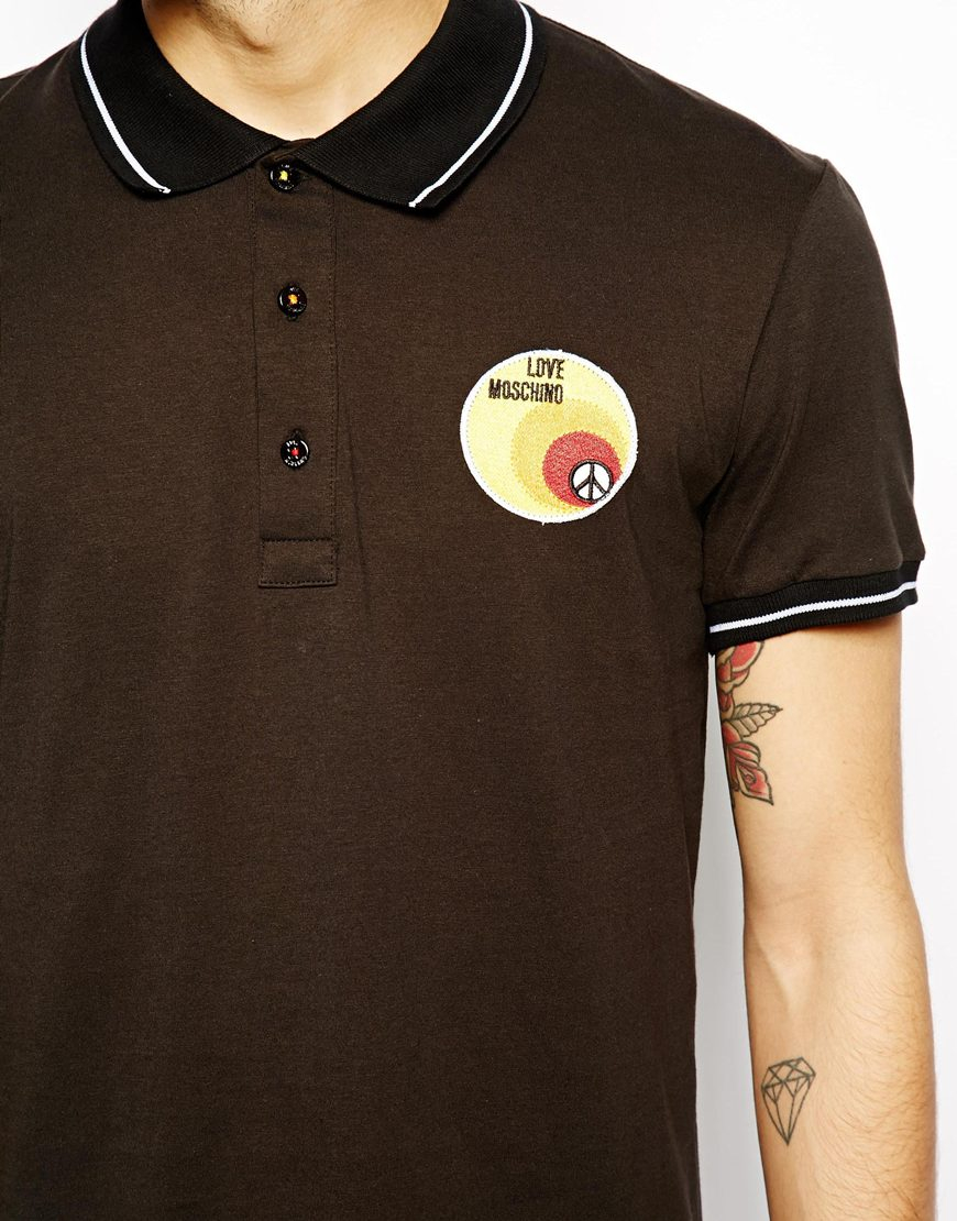 Sale Really Outlet Visit contrast logo polo shirt - Black Love Moschino nhpMrjh