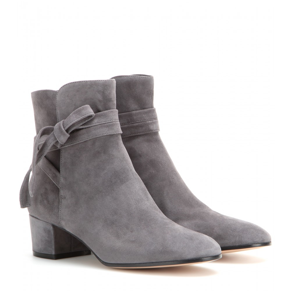 gianvito rossi moore suede ankle boots in gray lyst. Black Bedroom Furniture Sets. Home Design Ideas