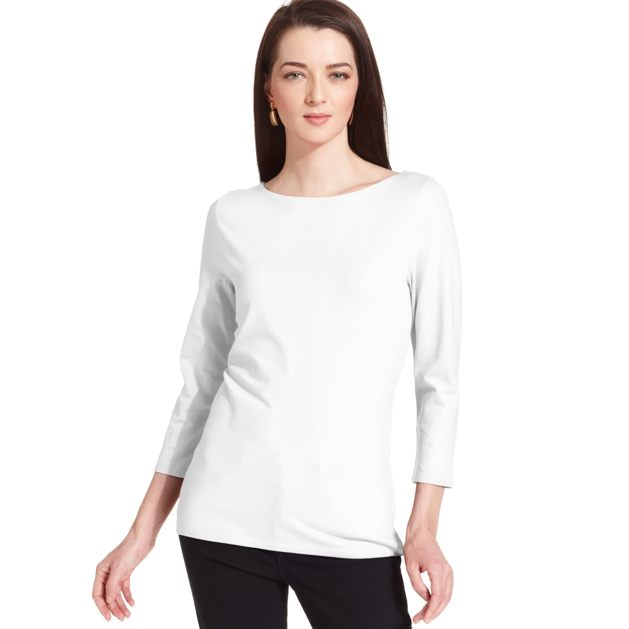 jones new york three quarter sleeve boat neck top in white. Black Bedroom Furniture Sets. Home Design Ideas