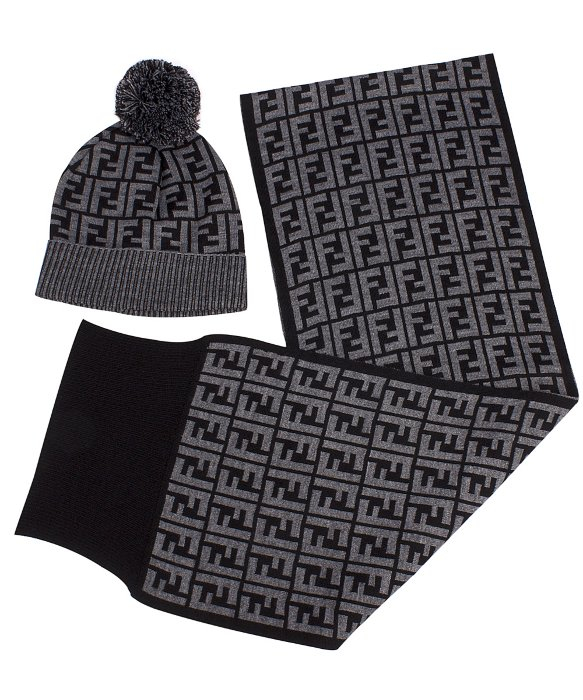 ee1c866bcd5 ... usa lyst fendi hat with pom pom and scarf set in grey in gray 75bb6  0b64a ...