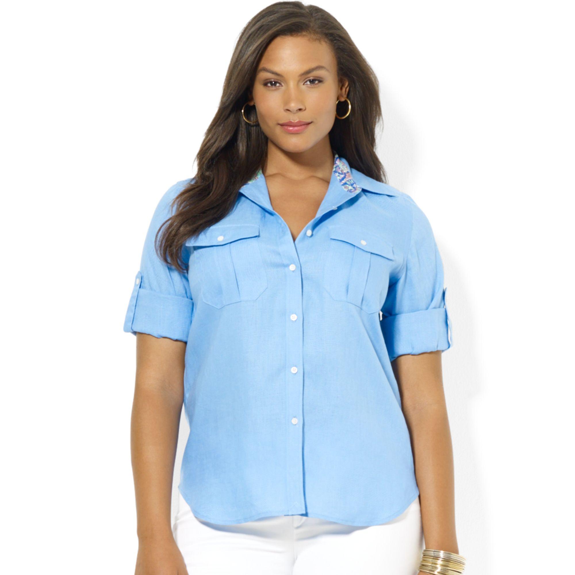 Lauren by ralph lauren plus size tabsleeve linen utility for Plus size light blue shirt