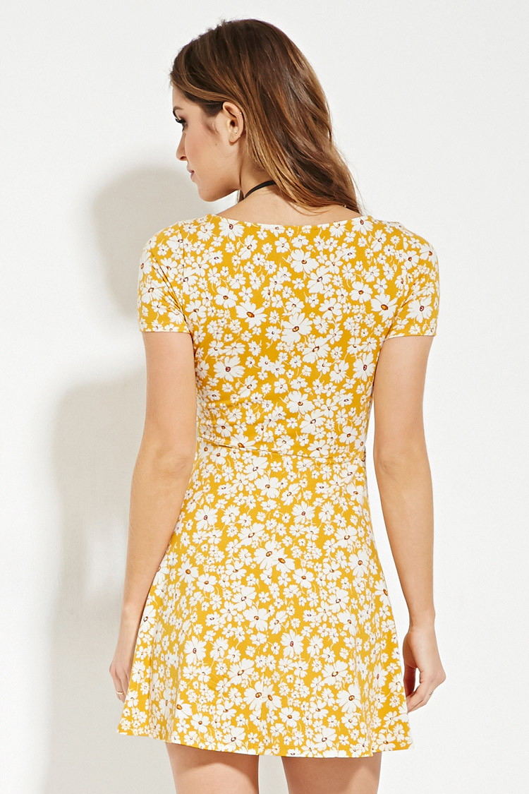 Lyst - Forever 21 Floral Print Skater Dress In Yellow