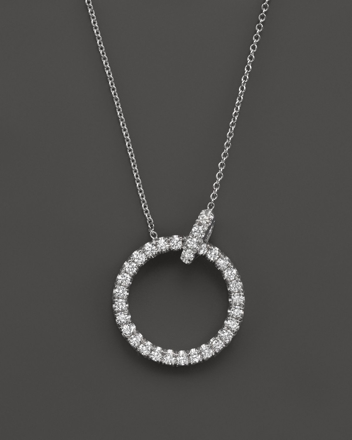 Lyst roberto coin 18k white gold diamond circle pendant necklace gallery previously sold at bloomingdales womens circle necklaces aloadofball Images
