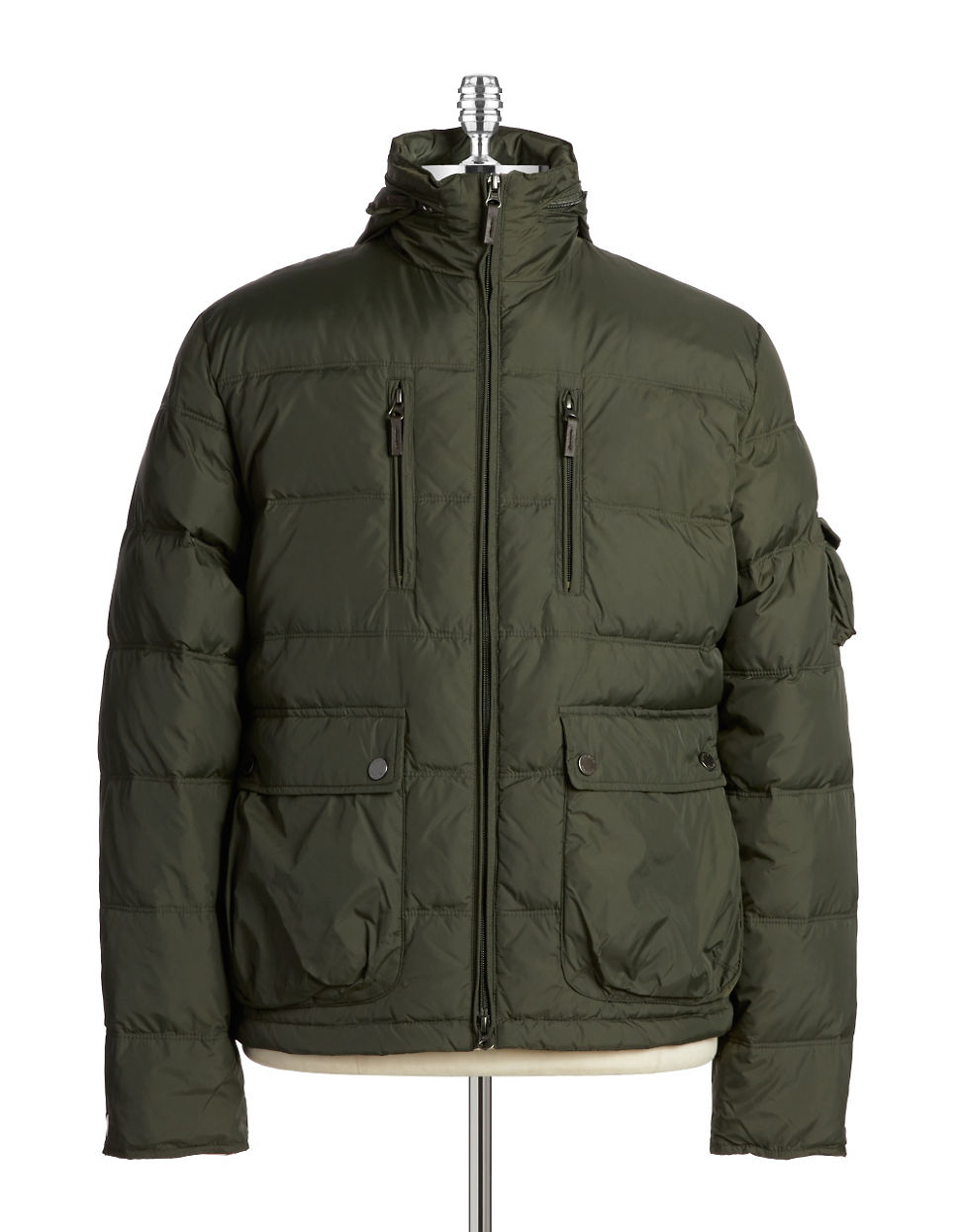 Black Amp Brown Puffer Jacket In Green For Men Dark Olive