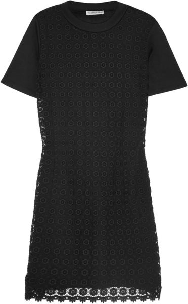 See By Chloé Cotton-Jersey And Crocheted Cotton Mini Dress in Black