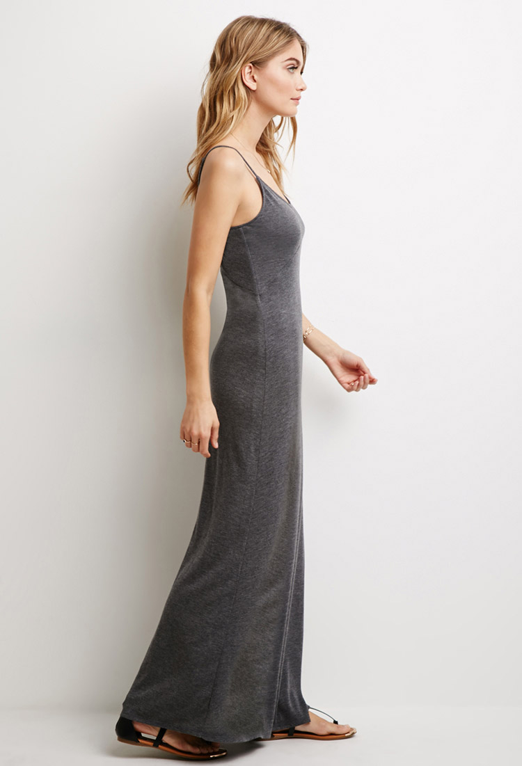 Grey ruched side split maxi dress