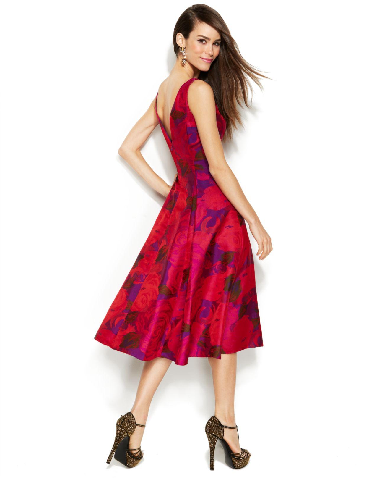 e1b14d726d8 Lyst - Adrianna Papell Sleeveless Rose-Print Midi Dress in Red