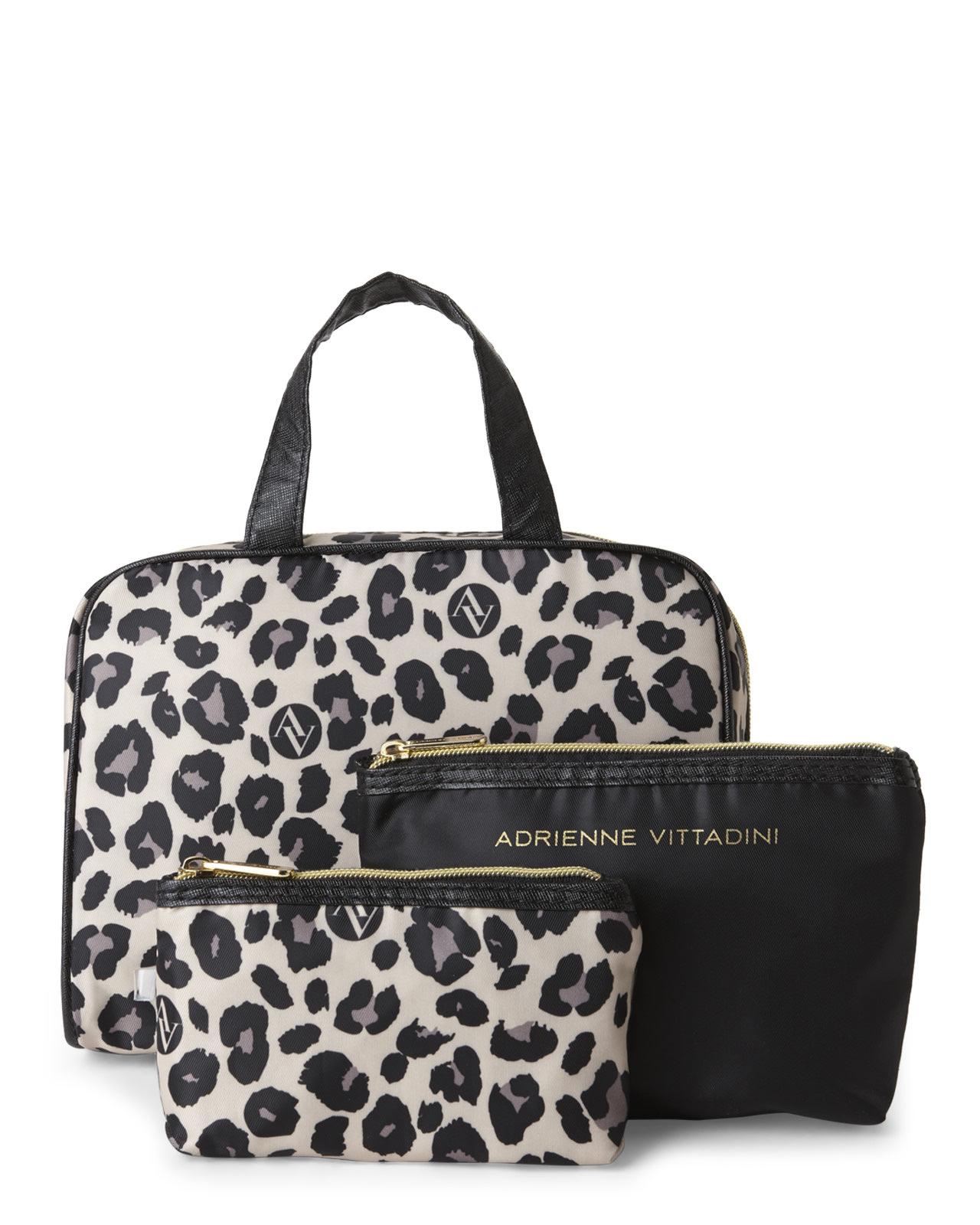 369db4f74f Lyst - Adrienne Vittadini Leopard Print 3-Piece Cosmetic Bag Set in ...