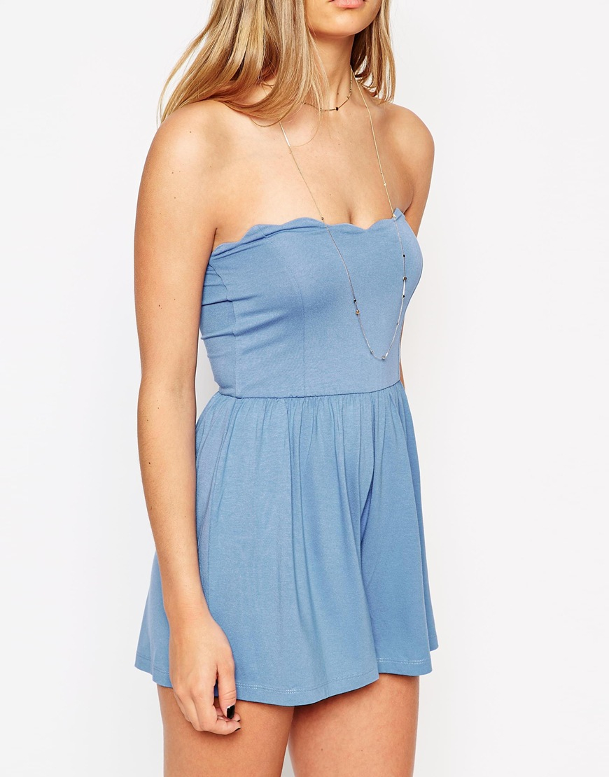 b838c8cd0d9 Lyst - ASOS Bandeau Playsuit With Scallop Edge in Blue