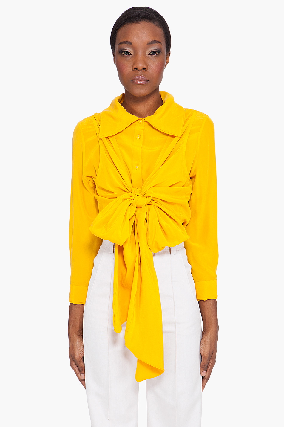 Viktor Rolf Fall 2016 Couture Fashion Show: Viktor & Rolf Sun Wrap Blouse In Yellow