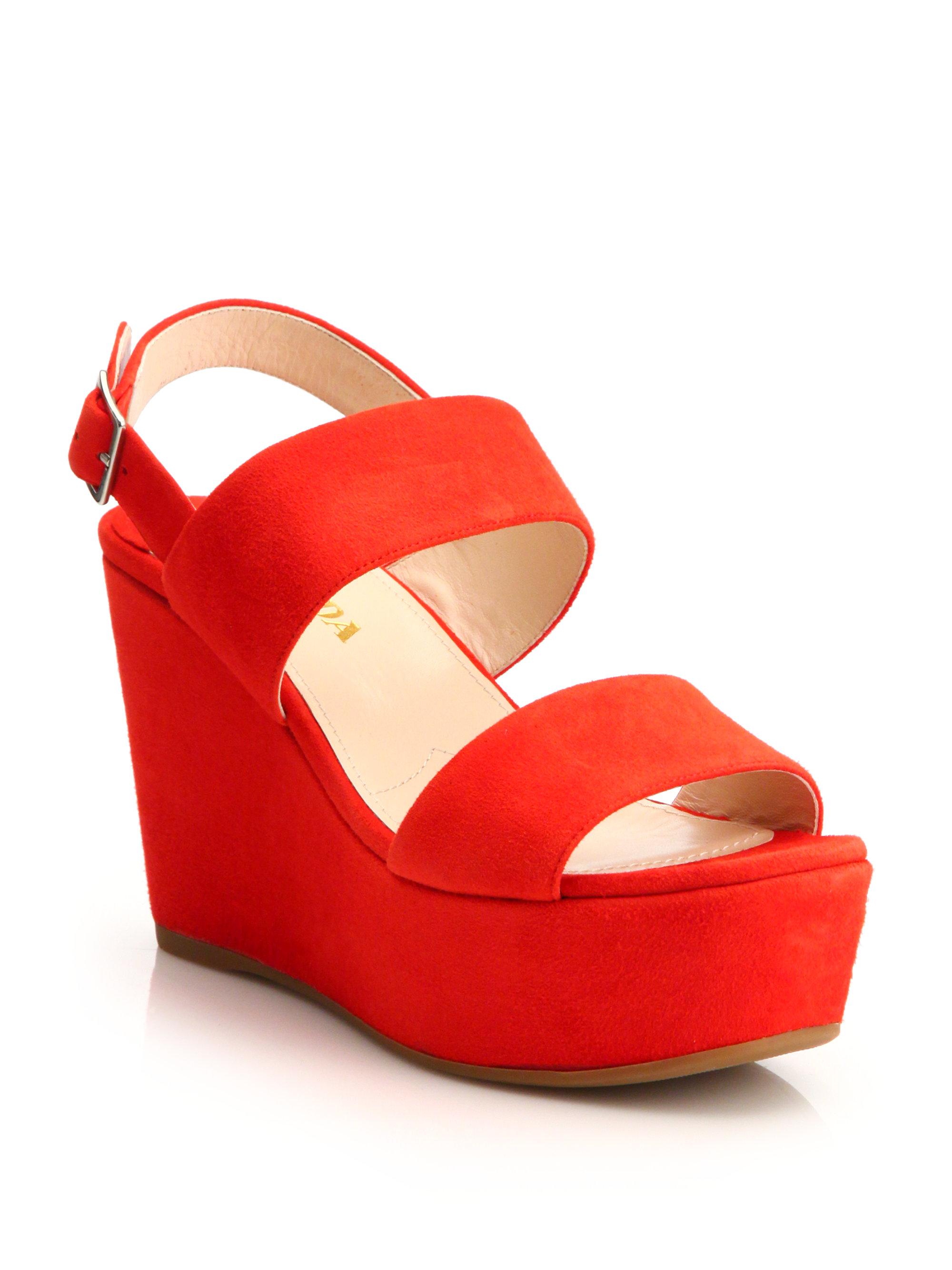 1b9ff20da99 Lyst - Prada Suede Platform Wedge Sandals in Red